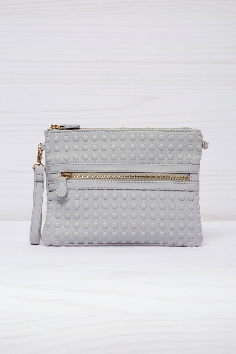 Leather look clutch with shoulder strap. image number null