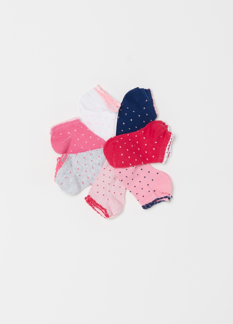 Seven-pack polka dot patterned liner socks image number null