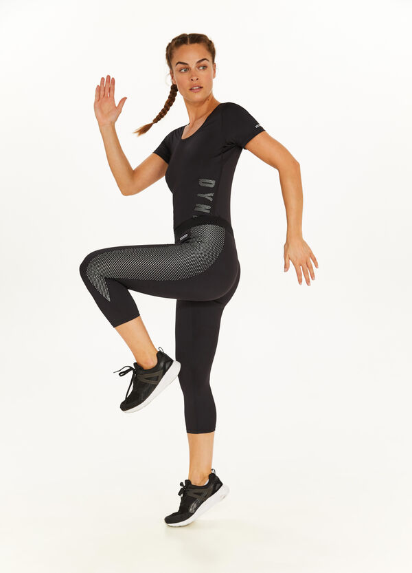 Stretch leggings with three-quarter sleeves