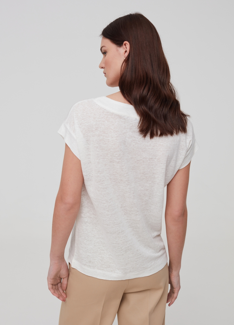 100% linen T-shirt with cap sleeves image number null