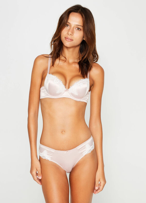 Stretch push-up bra with lace