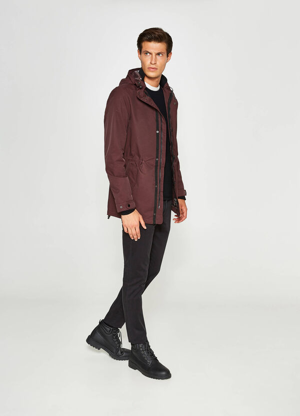Cotton blend jacket with hood