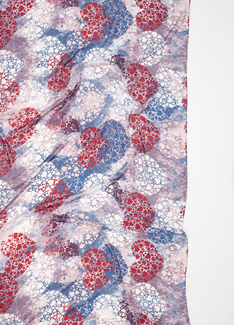 Scarf with hearts print image number null