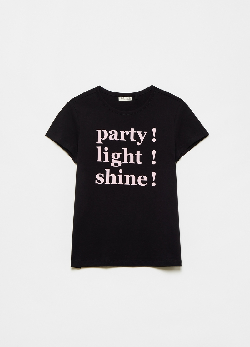 Cotton T-shirt with lettering image number null
