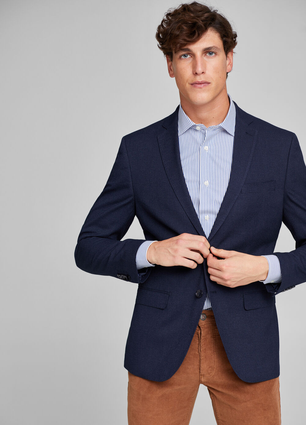 Viscose blend regular-fit blazer