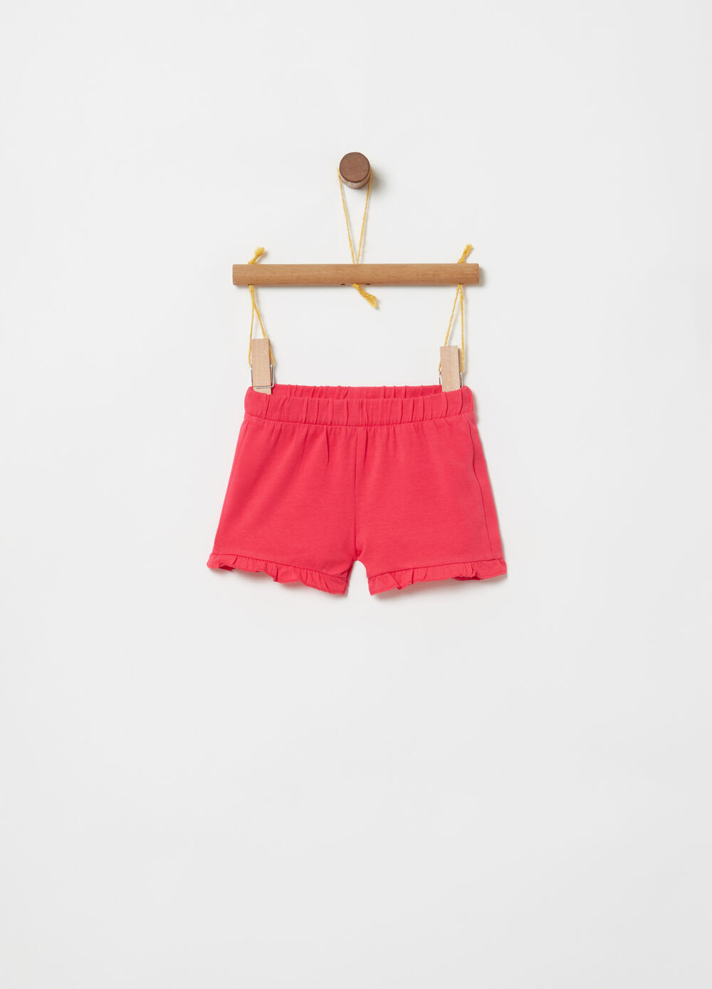 Shorts stretch costina e orlo plissettato