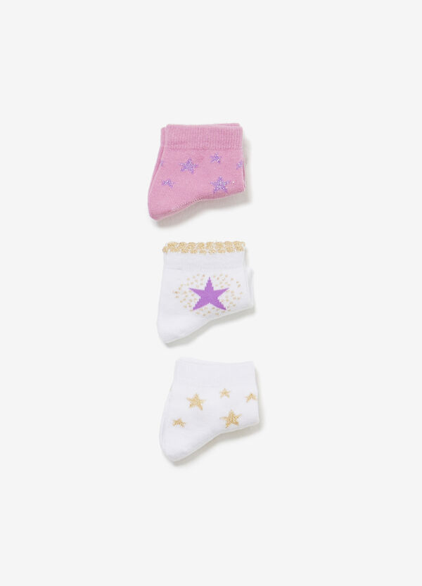 Three-pair pack solid colour and stars short socks