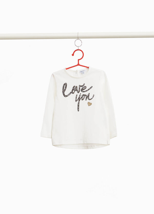 T-shirt with printed lettering and diamantés