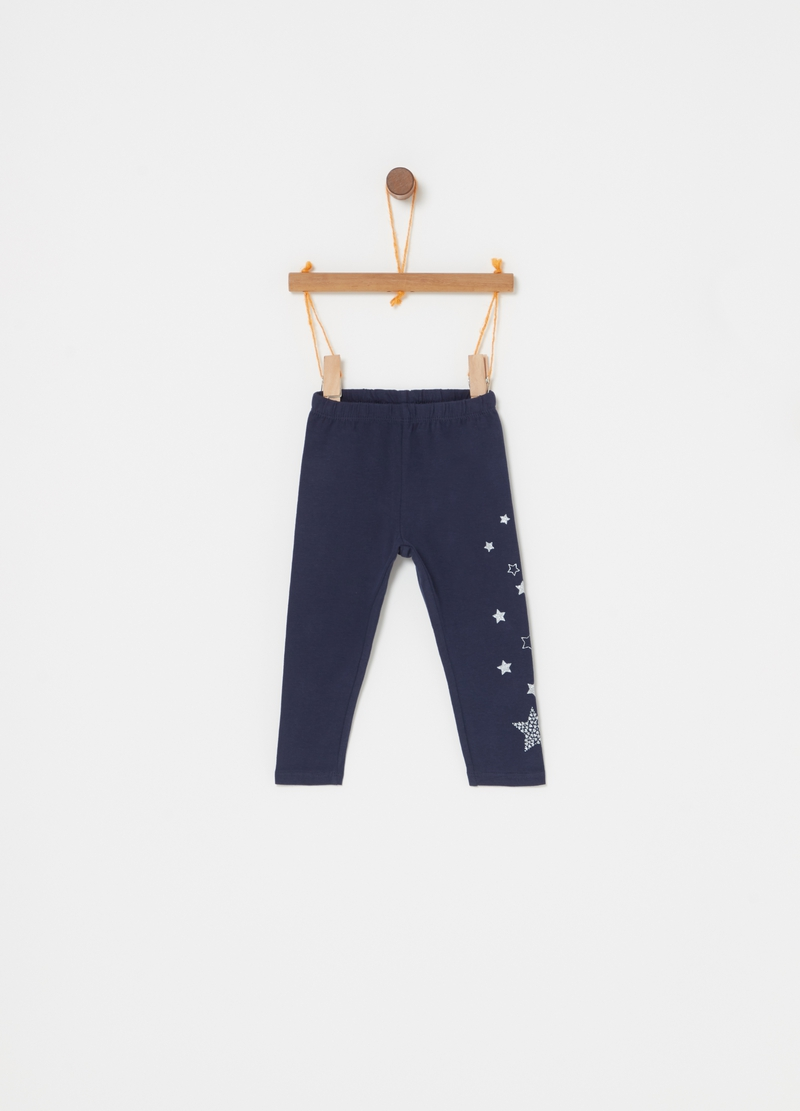 Leggings stretch stampa stelle glitter image number null