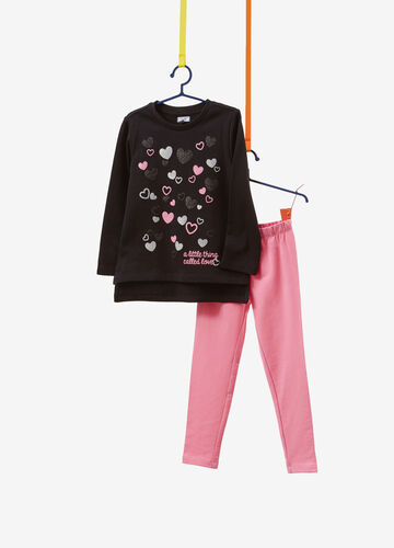 Tracksuit in cotton with glitter hearts print