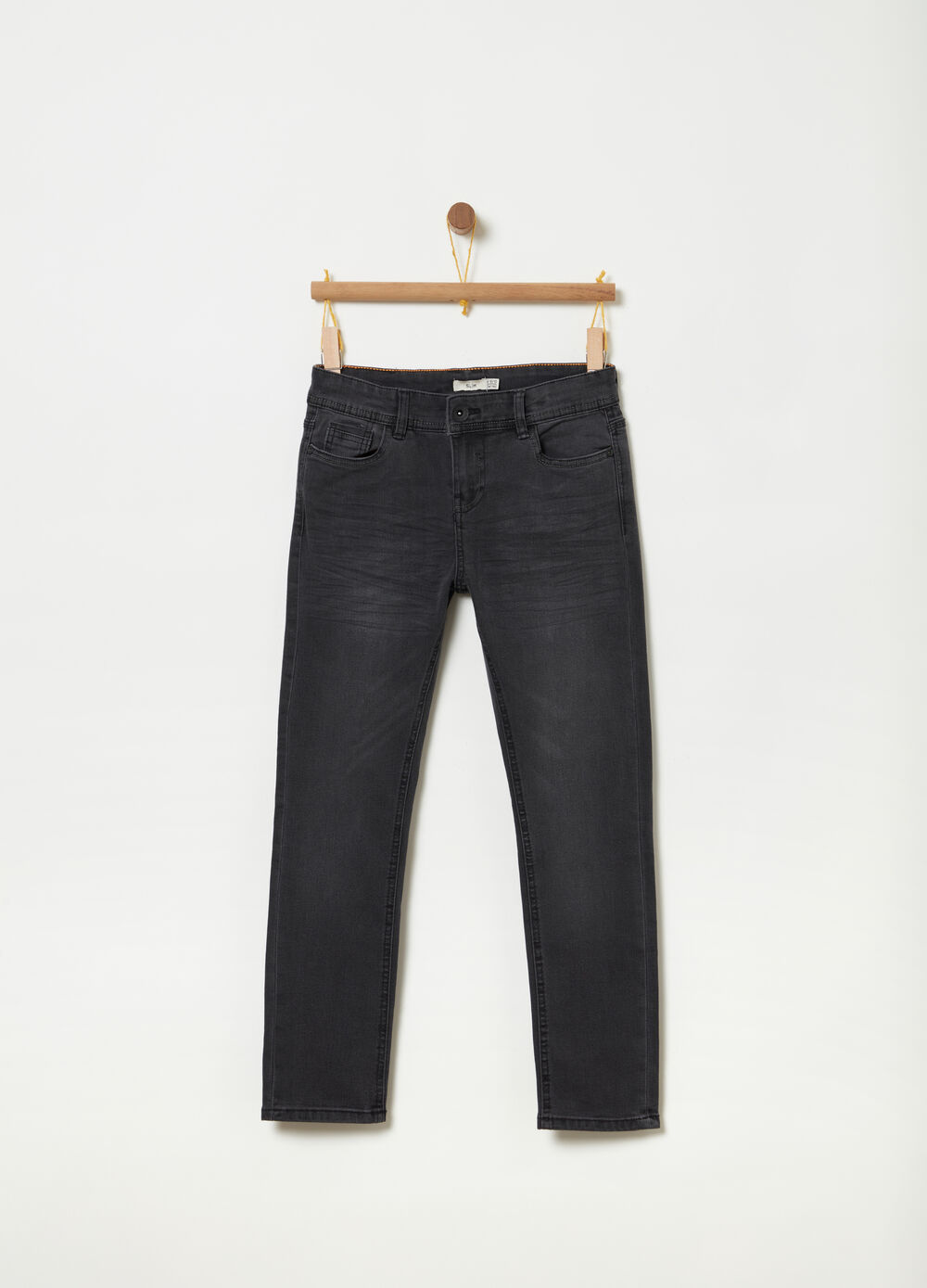 Washed-effect slim-fit stretch jeans