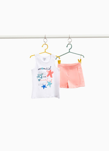 Stretch cotton stars and sequins outfit