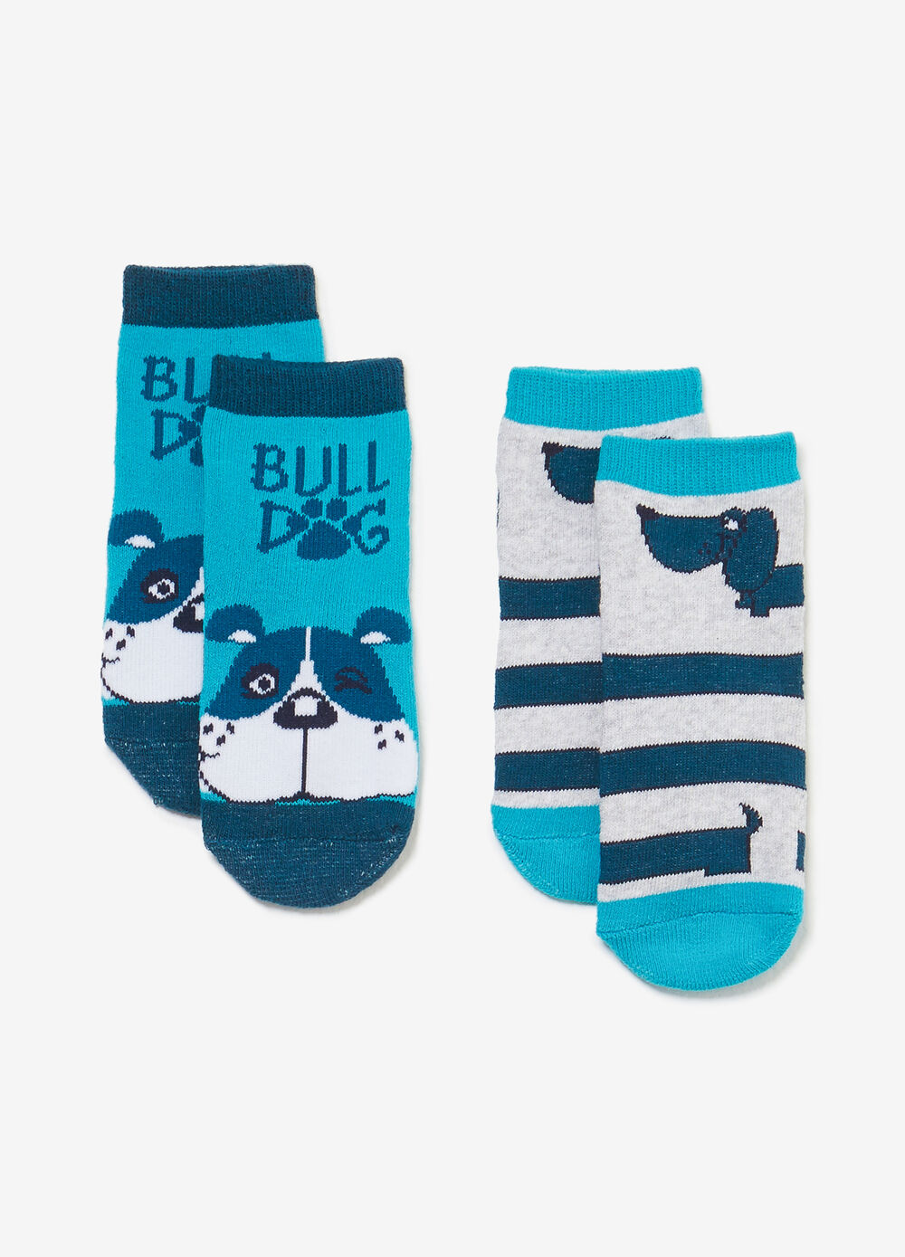 Two-pack short socks with puppies