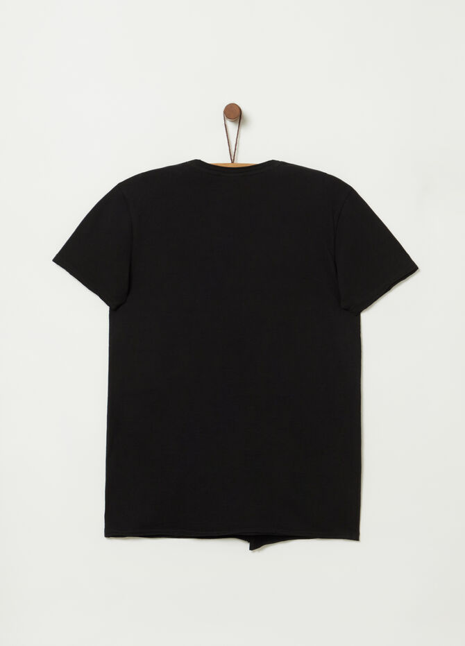 Raw cut T-shirt with print