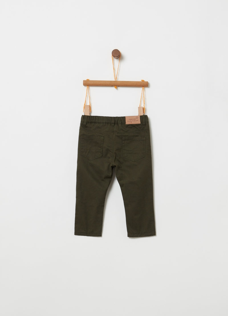 100% cotton twill trousers with jersey lining image number null