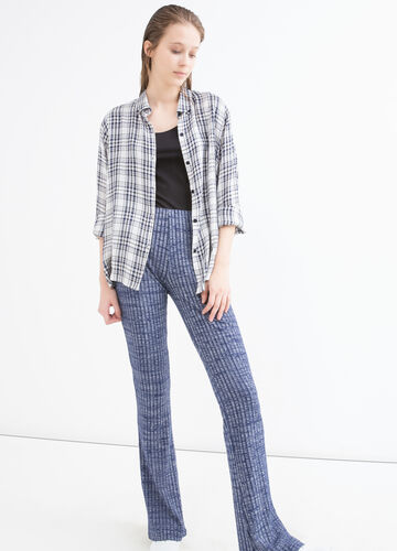 Stretch patterned viscose trousers