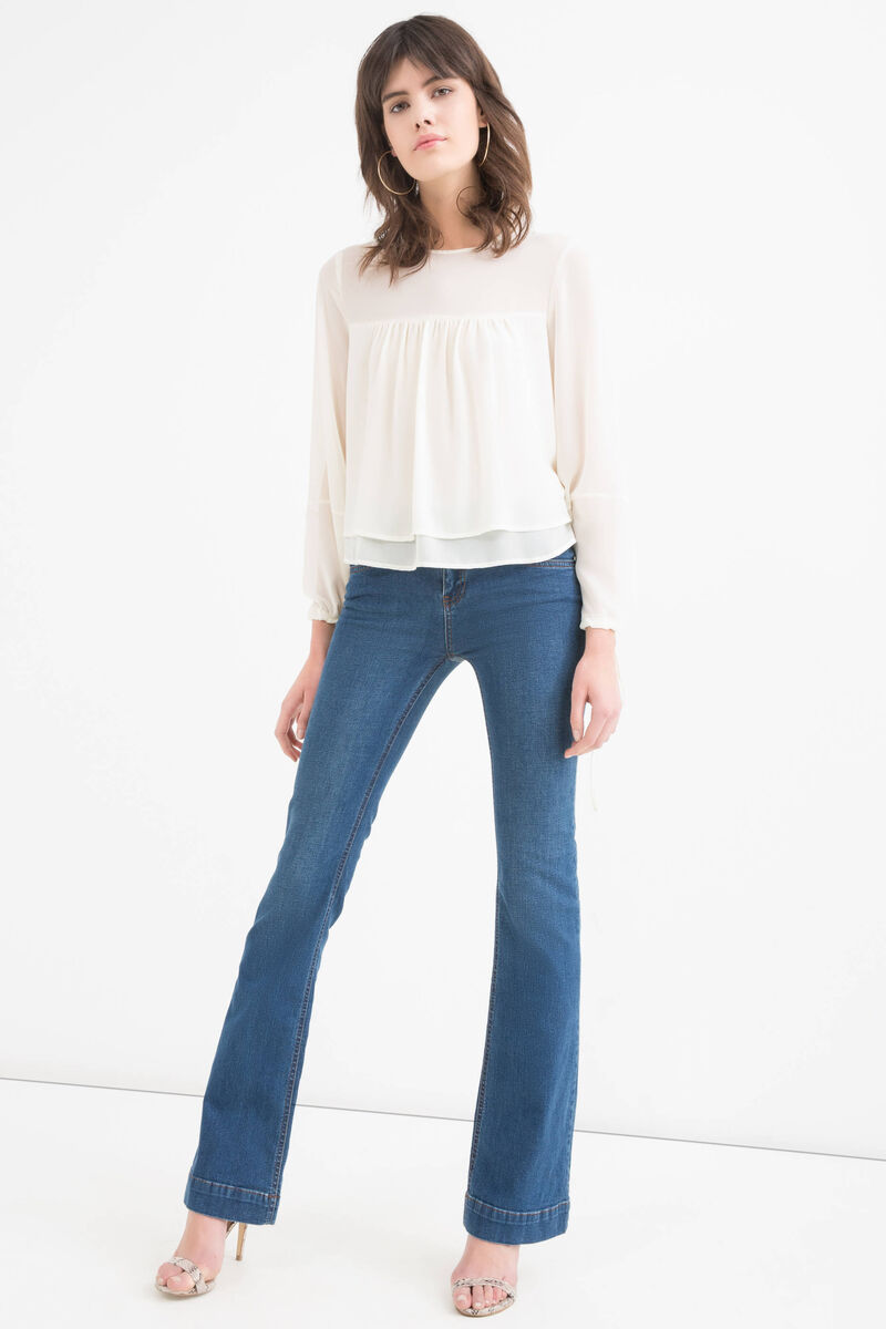 Long-sleeved blouse, with faux layering.