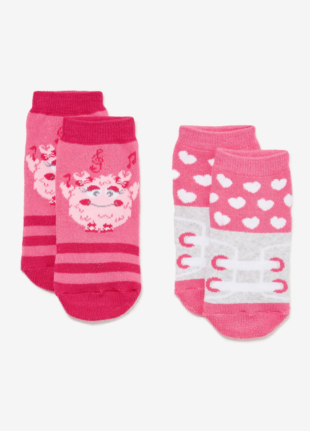 Two-pair pack short slipper socks with pattern