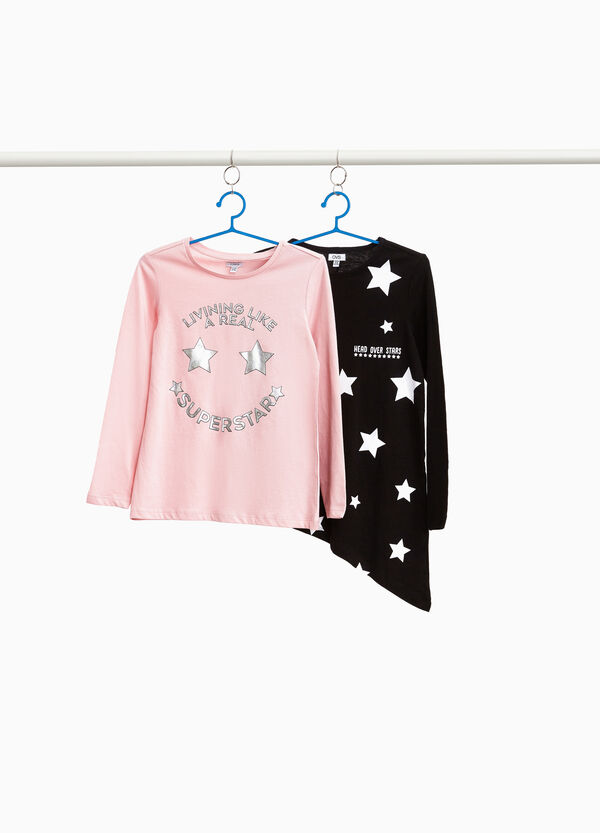 Set due t-shirt stampa a stelle