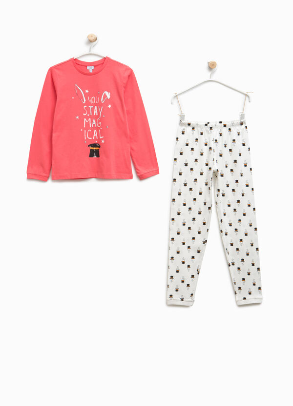 Organic cotton pyjamas with lettering and rabbits | OVS