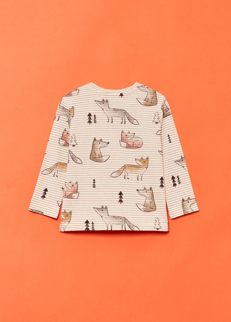 Round neck T-shirt with foxes and striped pattern image number null