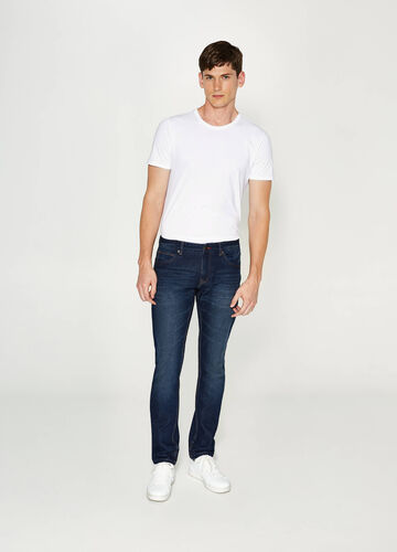 Slim fit jeans with whiskering