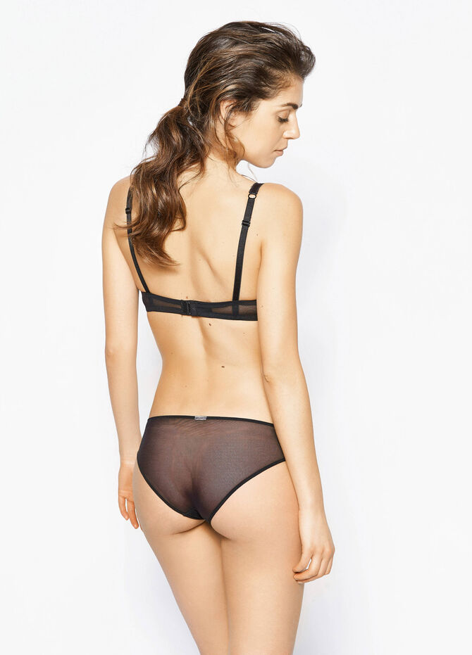 Briefs with semi-sheer back and lace