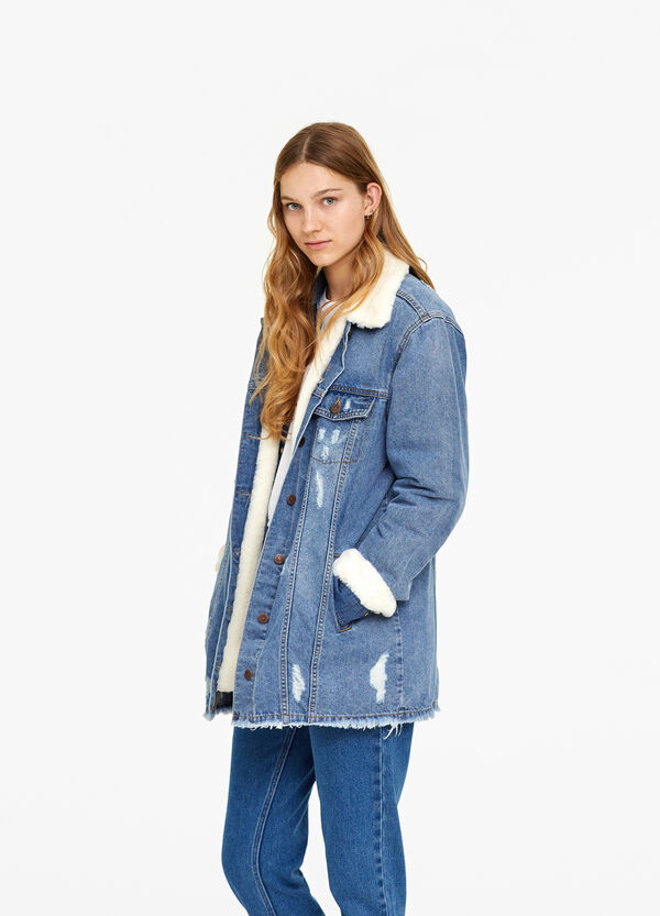 Worn-effect over-fit denim jacket