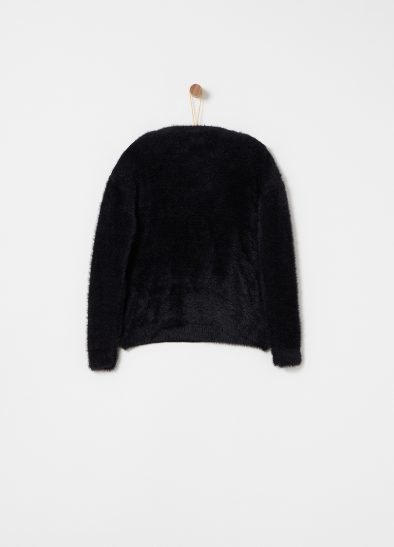 Fur-effect pullover with furry thread image number null