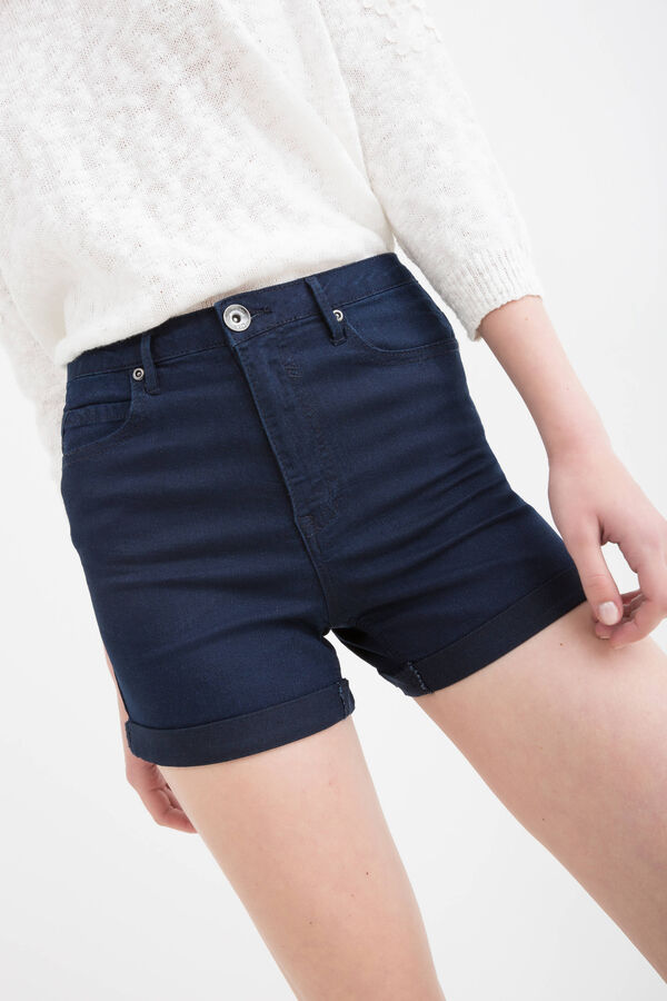 Shorts di jeans stretch vita alta