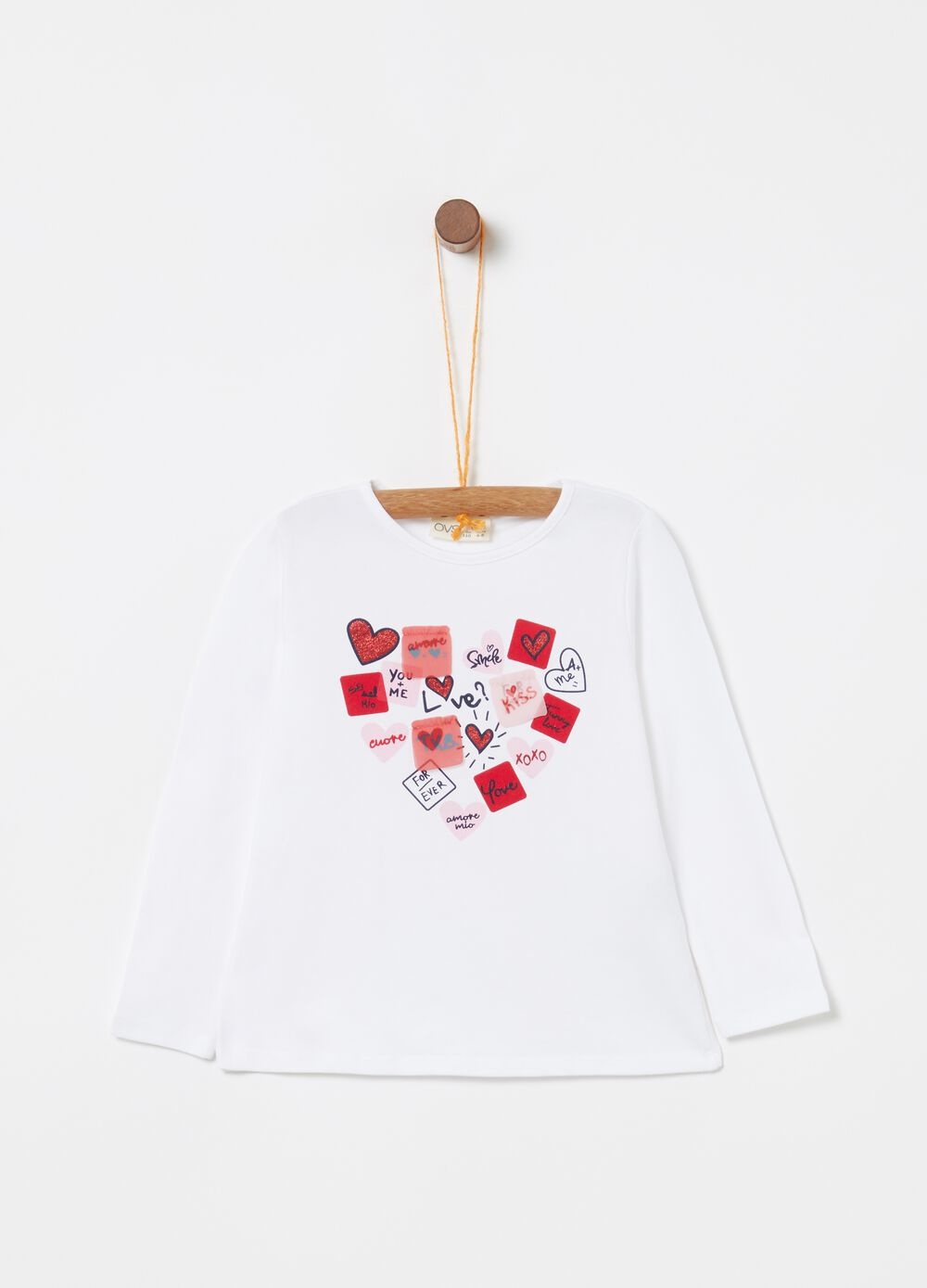 Stretch biocotton T-shirt with heart print