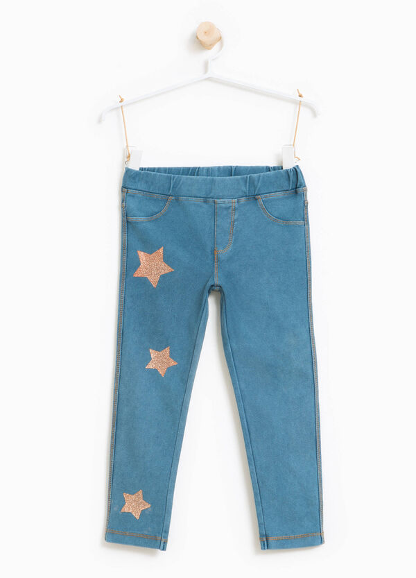 Jeggings with glitter star print | OVS