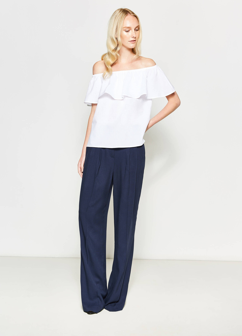 Blouse with boat neck and flounce image number null