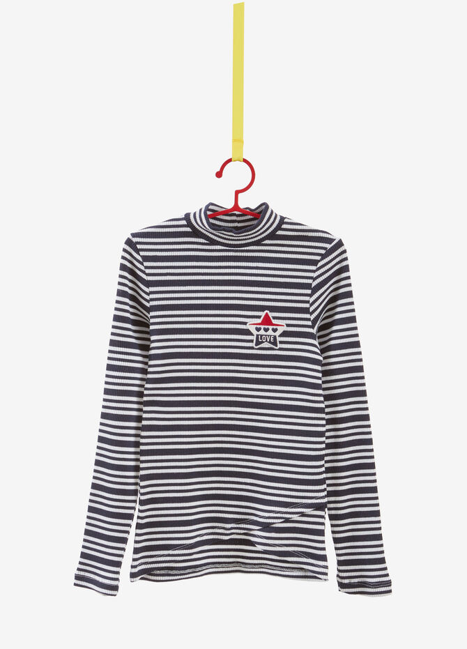 Stretch turtleneck top with stripes and patch