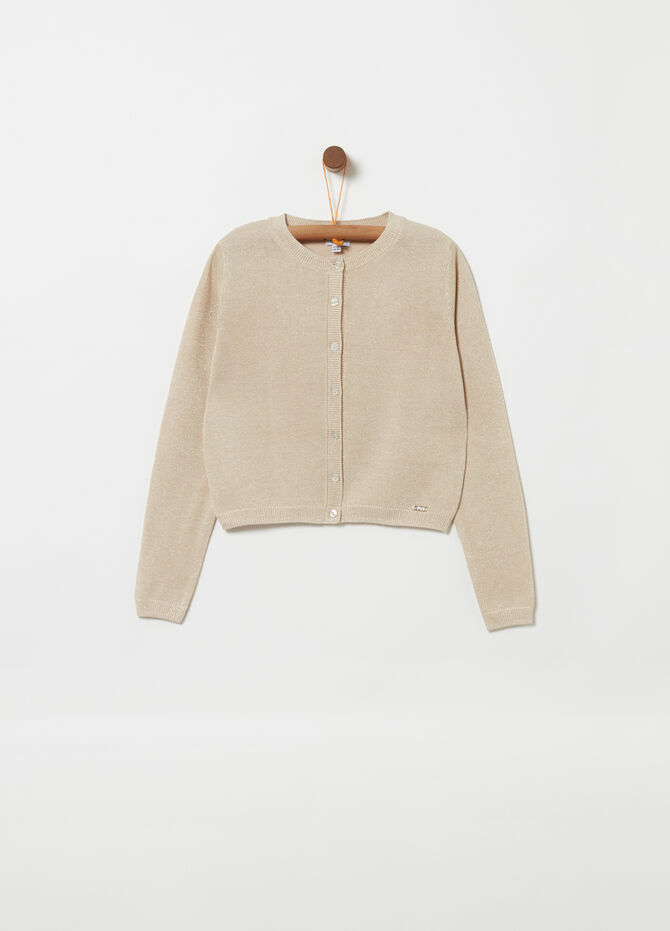 Knitted crop cardigan with lurex