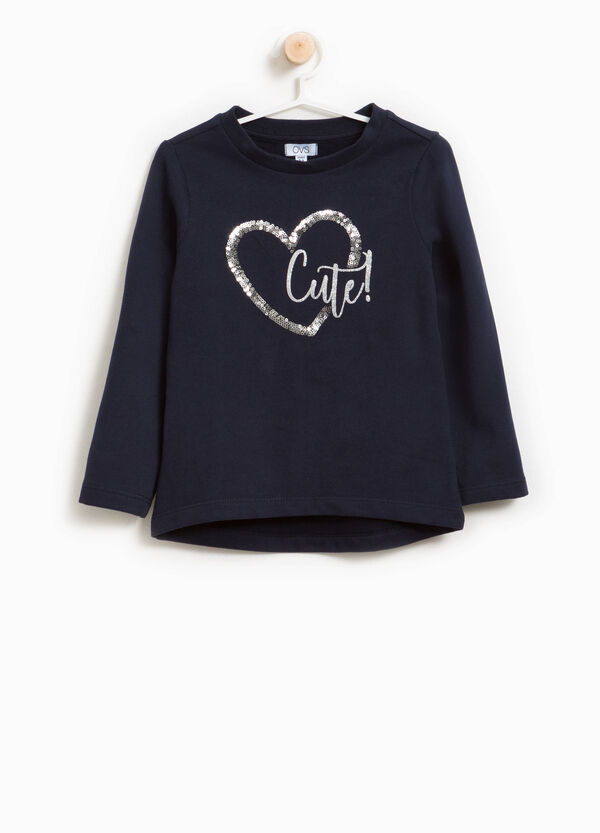 Cotton sweatshirt with print and sequins | OVS