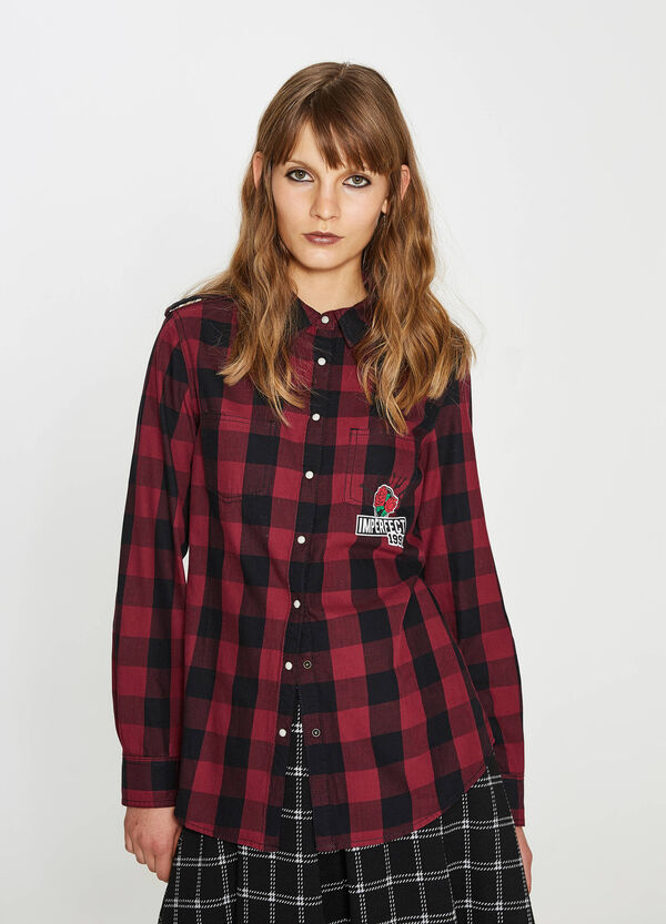 100% cotton check shirt with patches