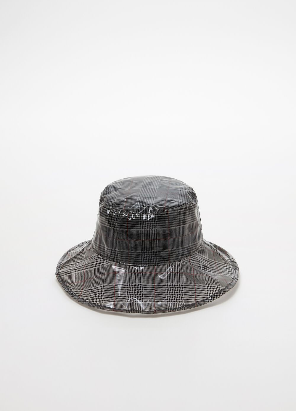 Rain hat with check pattern