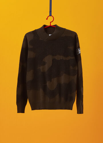 Cotton knit pullover with camouflage pattern