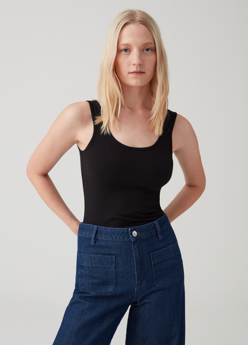Regular-fit, stretch cotton top image number null