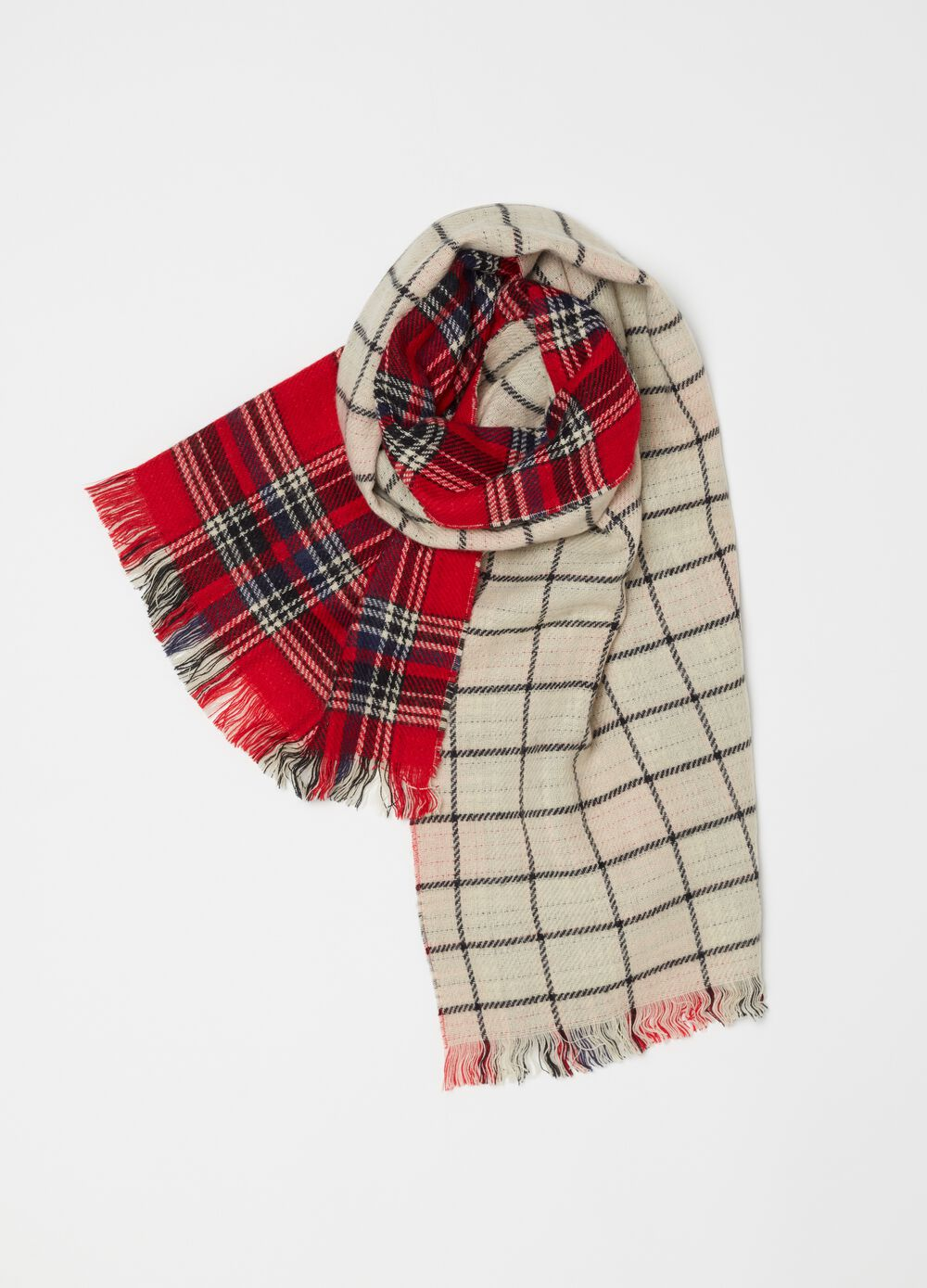 Pashmina with double check pattern