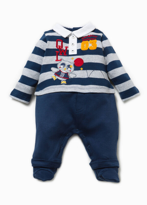 Onesie in 100% cotton with collar and patches | OVS