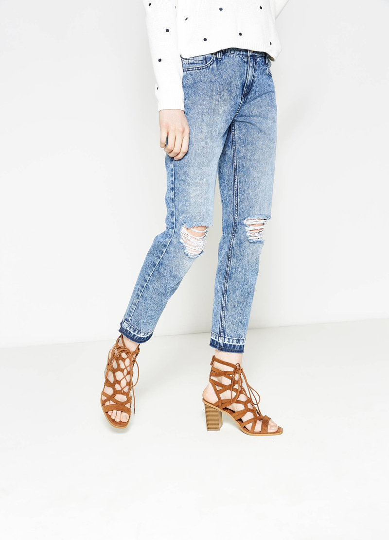 Jeans girlfriend maltinti con strappi image number null