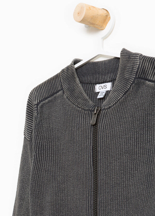 Pullover in 100% cotton with ribbing and zip | OVS