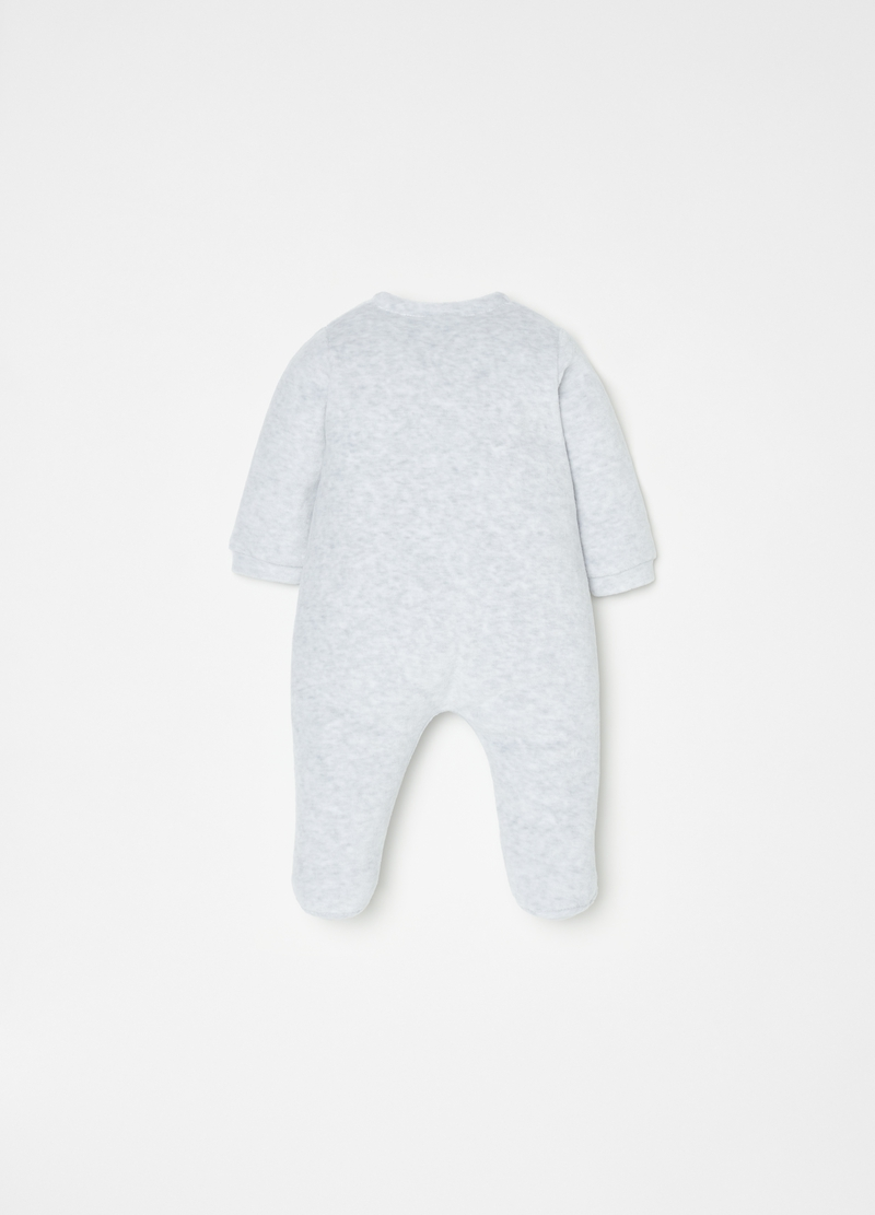 Mélange onesie with feet and kitten image number null