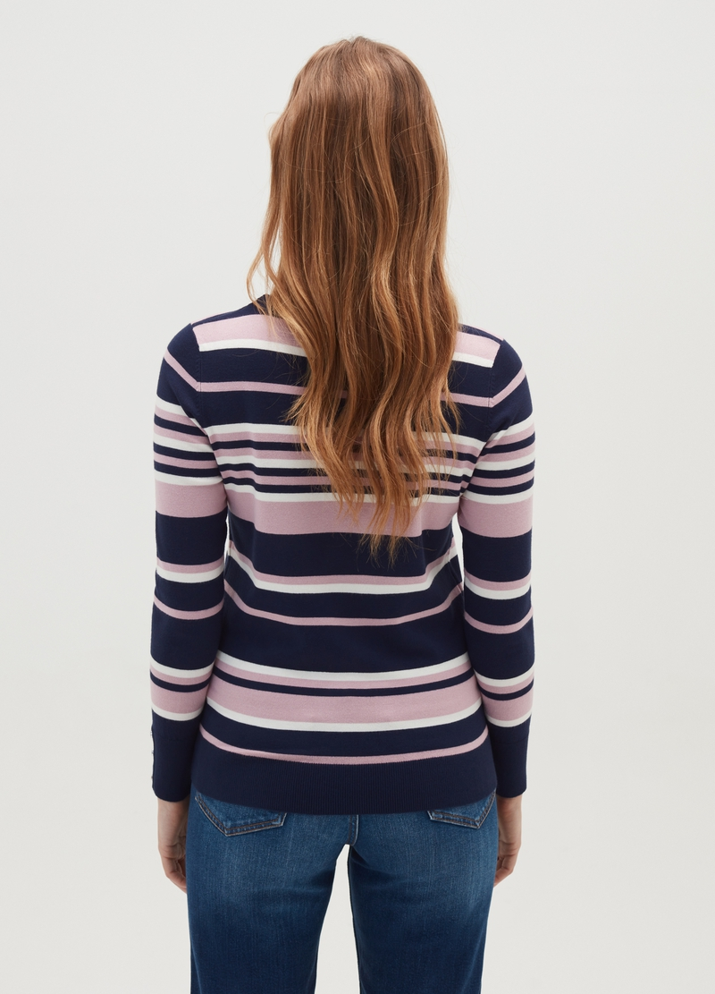 Striped pullover with buttons on the cuffs image number null