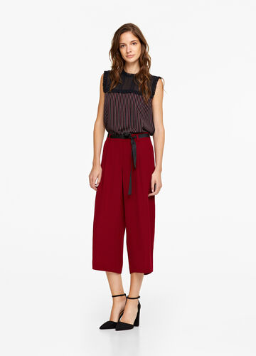 Solid colour wide crop trousers