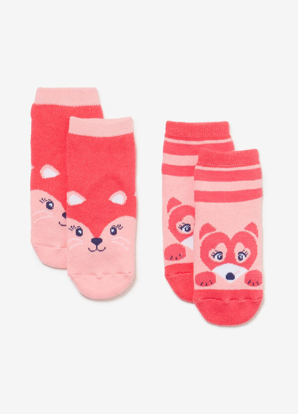 Two-pack short socks with animal print