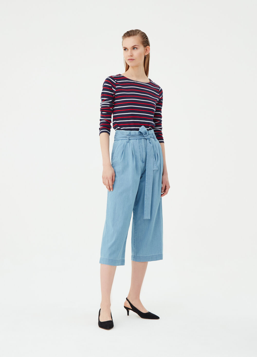 Wide-leg denim-effect culotte trousers