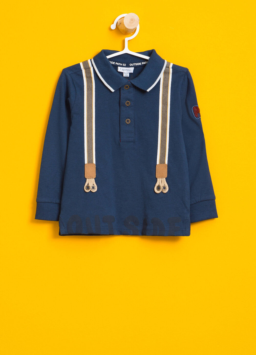 100% cotton polo shirt with braces print